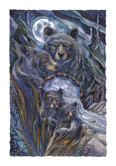 Bears (Black) / Journey To The Dreamtime - Art Card