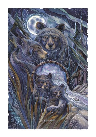 Bears (Black) / Journey To The Dreamtime - Art Card