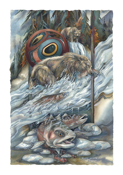 Bears (Grizzly) / River Of Life - Art Card