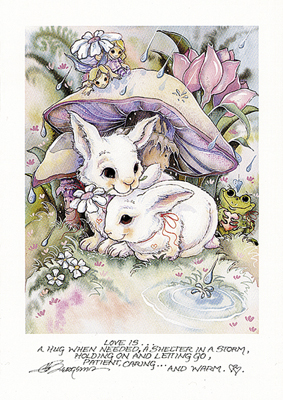 Love Is A Hug...(Bunnies)- Greeted Card